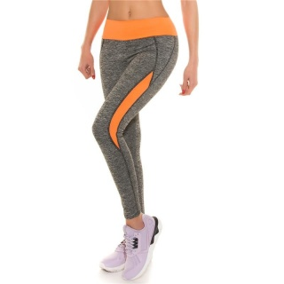 SEXY TRACKIES SWEATPANTS FITNESS YOGA LEGGINGS GREY/NEON-ORANGE