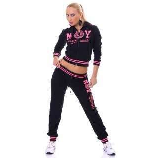 SEXY JOGGING SUIT TRACKSUIT NEW YORK OFFICIAL BLACK/FUCHSIA