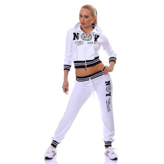 SEXY JOGGING SUIT TRACKSUIT NEW YORK OFFICIAL WHITE/BLACK