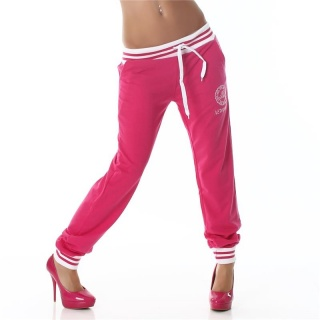 SEXY JOGGING TRACKIES SWEATPANTS WITH EMBROIDERY FUCHSIA/WHITE