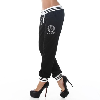 SEXY JOGGING TRACKIES SWEATPANTS WITH EMBROIDERY BLACK/WHITE