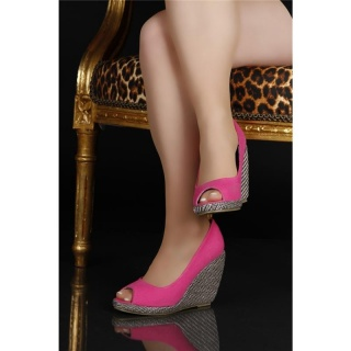 SEXY PUMPS PEEP TOES HIGH HEELS WITH BAST FUCHSIA