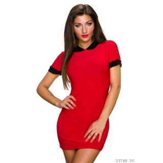 SEXY SHORT-SLEEVED MINI DRESS/LONGSHIRT WITH PETER PAN COLLAR RED