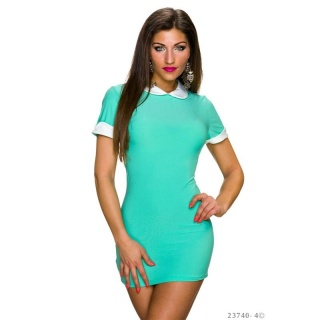 SEXY SHORT-SLEEVED MINI DRESS/LONGSHIRT WITH PETER PAN COLLAR TURQUOISE