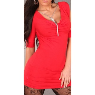 SEXY SHORT-SLEEVED MINIDRESS/LONGSHIRT WITH RHINESTONE-CHAIN RED