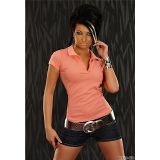 SEXY POLO SHIRT WITH SHORT SLEEVES APRICOT