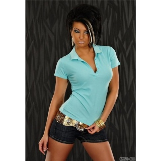 SEXY POLO SHIRT WITH SHORT SLEEVES TURQUOISE