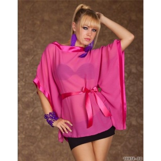 SEXY SHORT-SLEEVED SHIRT WITH SATIN BELT FUCHSIA