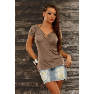 SEXY SHORT-SLEEVED SHIRT WITH METAL RING BROWN