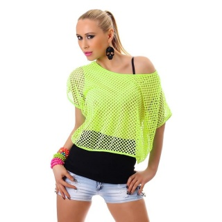 SEXY SHORT-SLEEVED SHIRT WITH NET FABRIC NEON-YELLOW/BLACK