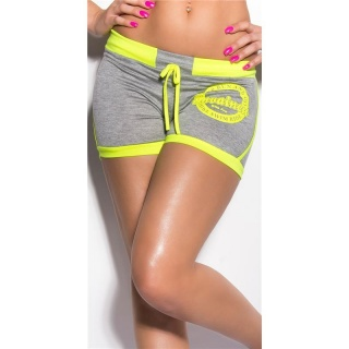 SEXY SWEAT SHORTS TRACKIES HOTPANTS WITH PRINT GREY/NEON-YELLOW