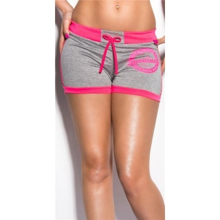 SEXY SWEAT SHORTS TRACKIES HOTPANTS WITH PRINT GREY/NEON-FUCHSIA