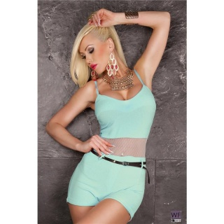 SEXY SHORT HOTPANTS OVERALL JUMPSUIT WITH CHIFFON AND BELT MINT