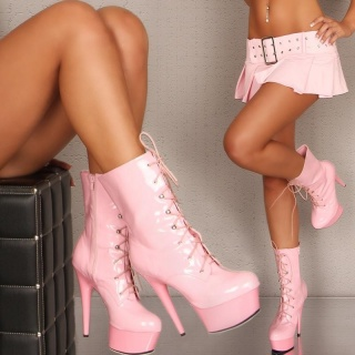 SEXY PLATFORM LACQUER ANKLE BOOTS PINK