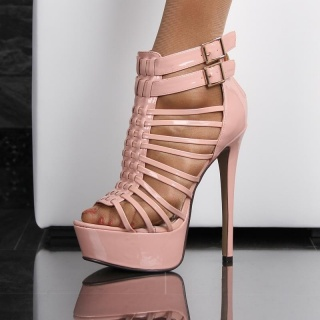 SEXY ARTIFICIAL PATENT LEATHER PLATFORM SANDALS WITH STRAPS HIGH HEELS PINK