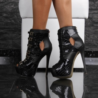 SEXY ARTIFICIAL PATENT LEATHER PLATFORM BOOTS HIGH HEELS CROC-LOOK BLACK