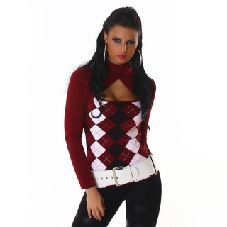 SEXY LONG-SLEEVED BOLERO SHIRT WITH CHECKED PATTERN WINE-RED