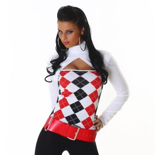 SEXY LONG-SLEEVED BOLERO-SHIRT WITH CHECKED PATTERN WHITE