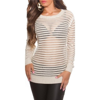 SEXY LONG-SLEEVED CHUNKY KNIT SWEATER TRANSPARENT BEIGE