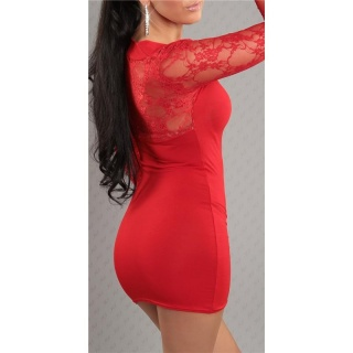 SEXY LONG-SLEEVED MINI DRESS WITH LACE BOLERO-LOOK RED