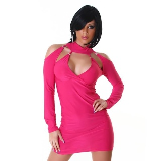 SEXY LONG-SLEEVED MINI DRESS WITH V-NECK FUCHSIA