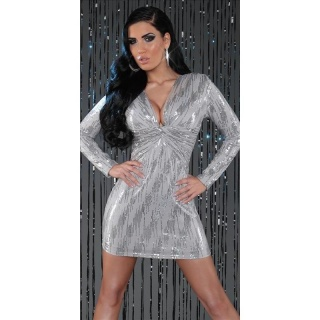 SEXY LONG-SLEEVED PARTY DRESS MINI DRESS WITH SEQUINS GREY