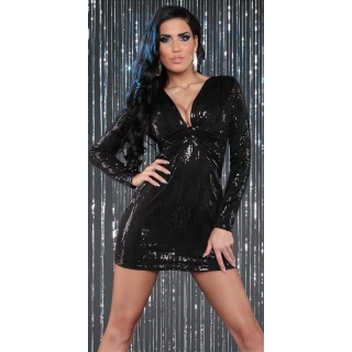 SEXY LONG-SLEEVED PARTY DRESS MINI DRESS WITH SEQUINS BLACK