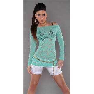SEXY LONG-SLEEVED SHIRT MADE OF LACE TRANSPARENT MINT GREEN