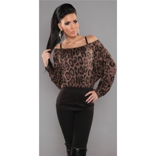 SEXY LONG-SLEEVED SHIRT LEOPARD-LOOK LEO-BROWN/BLACK