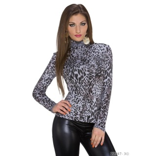 SEXY LONG-SLEEVED SHIRT IN LEOPARD-LOOK GREY/BLACK