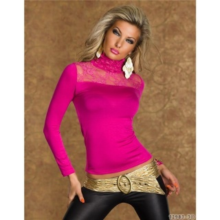 SEXY LONG-SLEEVED SHIRT WITH POLO-NECK AND LACE FUCHSIA