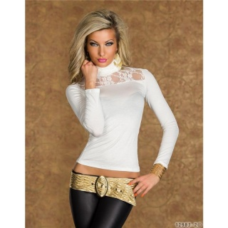 SEXY LONG-SLEEVED SHIRT WITH POLO-NECK AND LACE WHITE