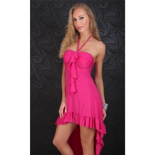 EXCLUSIVE HALTERNECK LATINO DRESS EVENING DRESS FUCHSIA