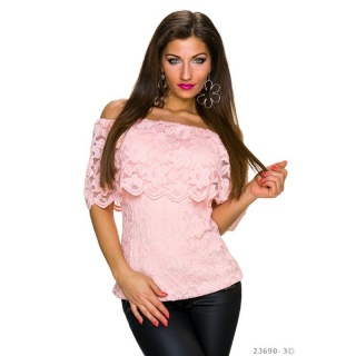 SEXY LACE TOP IN LATINA STYLE WITH FLOUNCES PINK