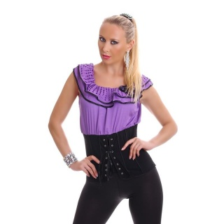SEXY LATINA-TOP WITH FRILLS AND LACING PURPLE/BLACK