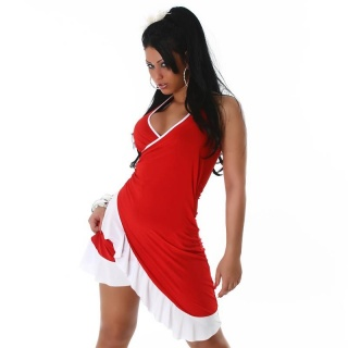 SEXY LATINO DRESS SALSA RED / WHITE