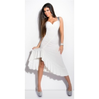 SEXY SALSA LATINO DRESS WITH LACE AND SEQUINS CREAM