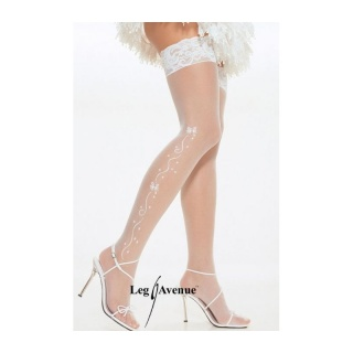 SEXY LEG AVENUE NYLON WEDDING STOCKINGS WITH LACE TOP CREAM