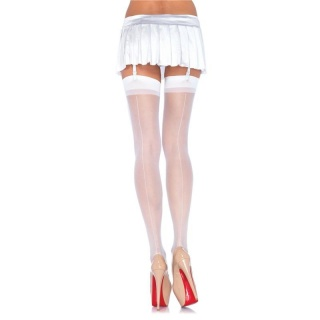 SEXY LEG AVENUE NYLON STOCKINGS WITH BACKSEAM WHITE