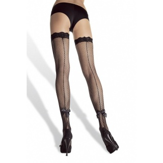 SEXY LEG AVENUE NYLON STOCKINGS WITH SATIN BOW BLACK