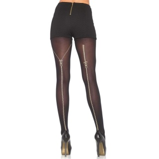SEXY LEG AVENUE NYLON PANTYHOSE WITH ZIPPER MOTIVE BLACK