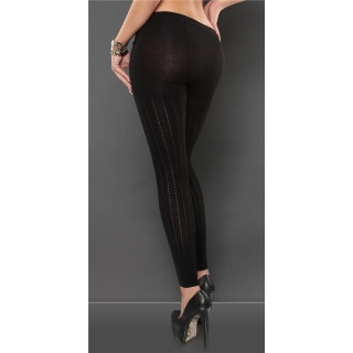 TRENDY LEGGINGS WITH PEEKABOO DESIGN BLACK