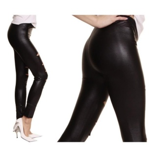 SEXY LEGGINGS WITH RIFTS WET LOOK BLACK