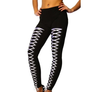 SEXY LEGGINGS WITH LACING BLACK/WHITE