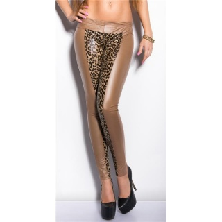 SEXY LEGGINGS WET LOOK CLUBWEAR CAPPUCCINO/LEOPARD