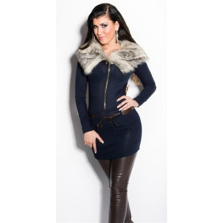 EXTRAVAGANT FINE-KNITTED SWEATER/MINIDRESS WITH FAKE FUR NAVY