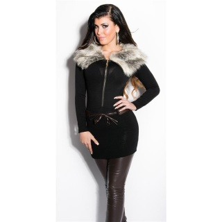 EXTRAVAGANT FINE-KNITTED SWEATER/MINIDRESS WITH FAKE FUR BLACK