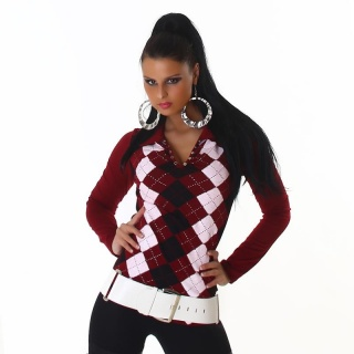 SEXY LONG-SLEEVED POLO SHIRT WITH CHECKED PATTERN WINE-RED
