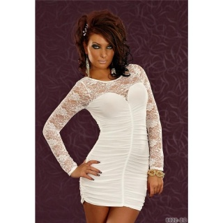 SEXY MINIDRESS EVENING DRESS WITH LACE LONG-SLEEVED CREAM