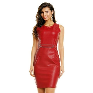 SEXY MINIDRESS MADE OF SOFT IMITATION LEATHER WITH BUCKLE RED